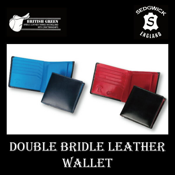 BRITISH GREEN ダブルブライドルレザー 二つ折財布 メンズ 全2色 1004