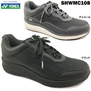 ジョギングシューズ YONEX/ヨネックス パワークッション SHWMC108 メンズ ウォーキングシューズ コンフォートシューズ 靴 メッシュ ファスナー レースアップ 幅広 3.5E 軽量 快適 歩きやすい 脱ぎ