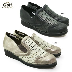 City Golf GFL5201シティ・ゴルフ レディース カジュアル コンフォートシューズ サイドゴア 幅広 3E クッション性 超軽量 本革 日本製 パンチング 女性 婦人