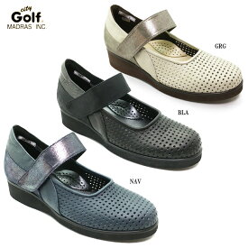 City Golf GFL5200シティ・ゴルフ レディース カジュアル コンフォートシューズ ストラップ 幅広 3E クッション性 超軽量 本革 日本製 パンチング 女性 婦人