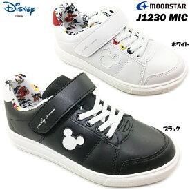 ディズニー DN J1230 MIC キッズ ジュニア スニーカー コートタイプ 靴 シューズ ミッキーマウス マジックテープ仕様 ベルクロ キャラクター disney ムーンスター moonstar 女の子 子供靴