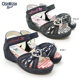 OSHKOSH オシュコシュ OSK C400キッズ サンダル デニム ハート バックル ギンガムチェック 軽量 子供用 女の子 女児