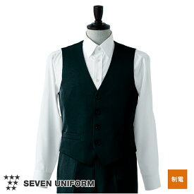 飲食店ユニフォーム ベスト [男性用] CJ4332 メンズ ホテル フロント フォーマル 制服 モダン ベージュ ブラック SEVEN UNIFORM セブン白洋社