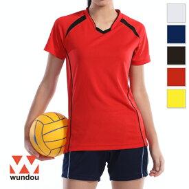 【返品・交換不可】ウィメンズバレーボールシャツ P1620 【S〜XXL】 [女性用] wundou ウンドウ スポーツウェア トレーニングウェア