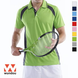 【返品・交換不可】ベーシックテニスシャツ P1710 【S〜XXL】 [男女兼用] wundou ウンドウ スポーツウェア トレーニングウェア