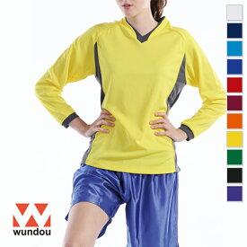 【返品・交換不可】ベーシックロングスリーブサッカーシャツ P1930 【110cm〜150cm】 [男女兼用キッズ] wundou ウンドウ スポーツウェア トレーニングウェア