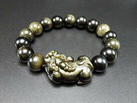 魔よけ金運天然石上質ゴールドオブシディアンヒキュウ数珠ブレスレット
