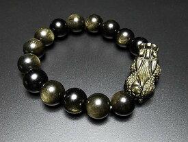 ひきゅう天然石ブレスレット超迫力大玉ゴールドオブシディアンデカヒキュウ数珠