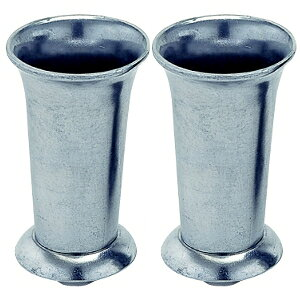 アルミ合金製 銀色 お墓用花立 1対2本セット 台座ネジ式 サイズ:小