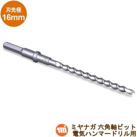 ミヤナガ 六角軸ビット HEX160 MIYANAGA刃先径:16.0mm/有効長l=160mm電気ハンマードリル用 石材向け