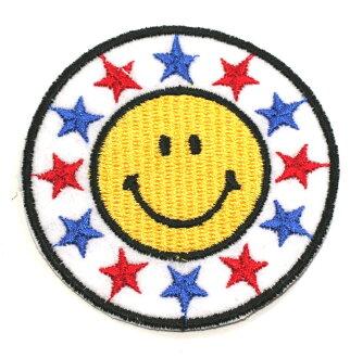 Ironing adhesive type ☆ ☆! Embroidered emblem smile ♪ round Star (large)