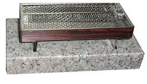 お墓 ステンレス 線香皿 御影石 台座付 約16cm×約7cm お墓用品 お墓小物