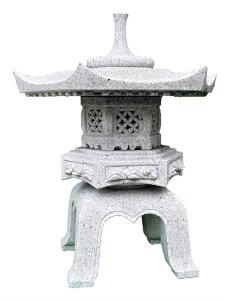 石灯籠 御影石 岡崎型 雪見灯篭角型 1.2寸(約36cm)高さ約45cm 設置用セメント接着剤付き 灯篭