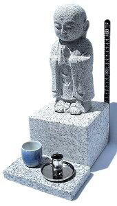 お地蔵様 墓地設置専用:御影石供養(水子) 地蔵 高さ約38cm台座15cm×25cm、線香立、水鉢、設置用資材付き