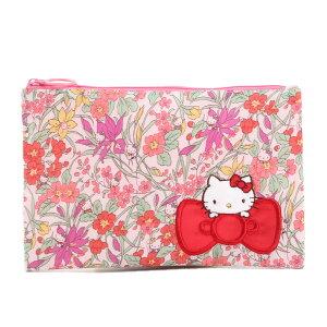 リバティプリント フラットポーチ ハローキティ Floral Harvest 濃ピンク