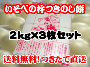 もち 餅 送料無料 いそべの のしもち 2kg×3枚 セット 期間限定 製造直売 ※沖縄は別途送料1,000円