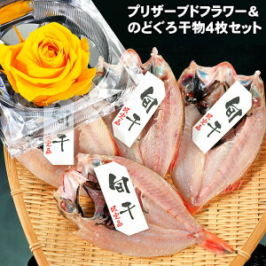 お中元 ギフト 敬老の日 プレゼント幸せカラーの黄色いバラのプリザーブドフラワー付き♪島根県産 のどぐろ 干物 ( ノドグロ 一夜干し 旬干し ) 1枚80g前後4枚詰めお誕生日ギフト 内祝い 贈