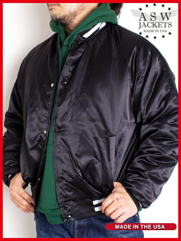 ASW 中綿 サテンジャケット AW164 Quilt Lined Satin Award Jacket