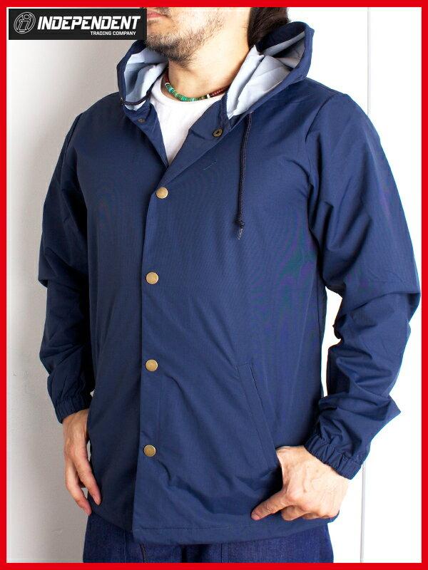 インディペンデント フード付きコーチジャケット レインジャケット メンズ ナイロン Independent Mens Nylon Button Up Jacket