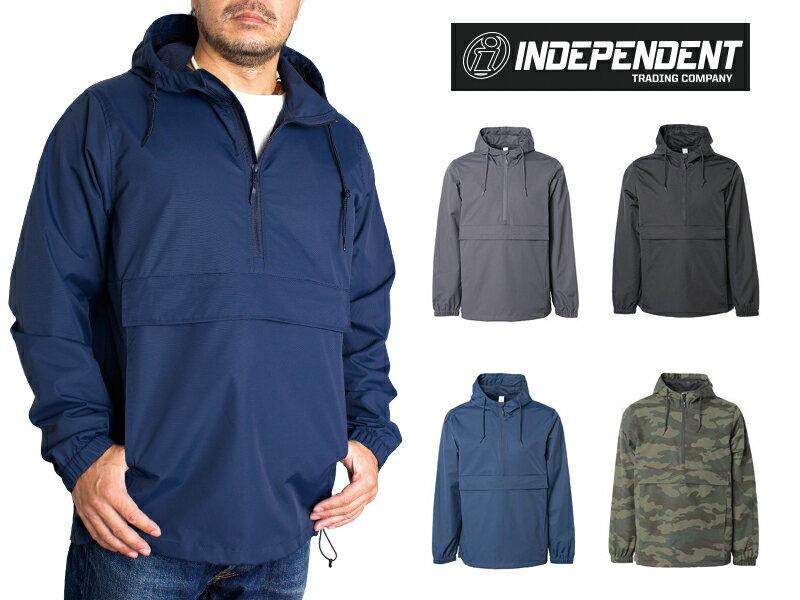 インディペンデント レインジャケット メンズ ナイロン アノラック ジャケット INDEPENDENT Water Resistant Windbreaker Anorak Jacket