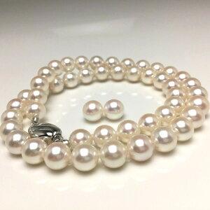 真珠 ネックレス パール アコヤ真珠 イヤリング or ピアス セット 8.0-8.5mm ホワイトピンク シルバー クラスップ 66524 イソワパール