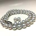 真珠 ネックレス パール オーロラ・真多麻 アコヤ真珠 イヤリング or ピアス セット 8.0-8.5mm ホワイトシルバーブル…