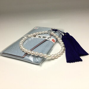 真珠 念珠(数珠) パール アコヤ真珠 7.5-8.0mm ホワイト 正絹房 水晶(クォーツ) 66699 イソワパール