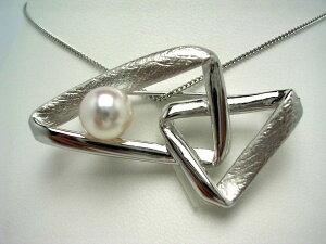 真珠 ブローチ パール アコヤ真珠 9.0-9.5mm ホワイトピンク シルバー 52057 イソワパール