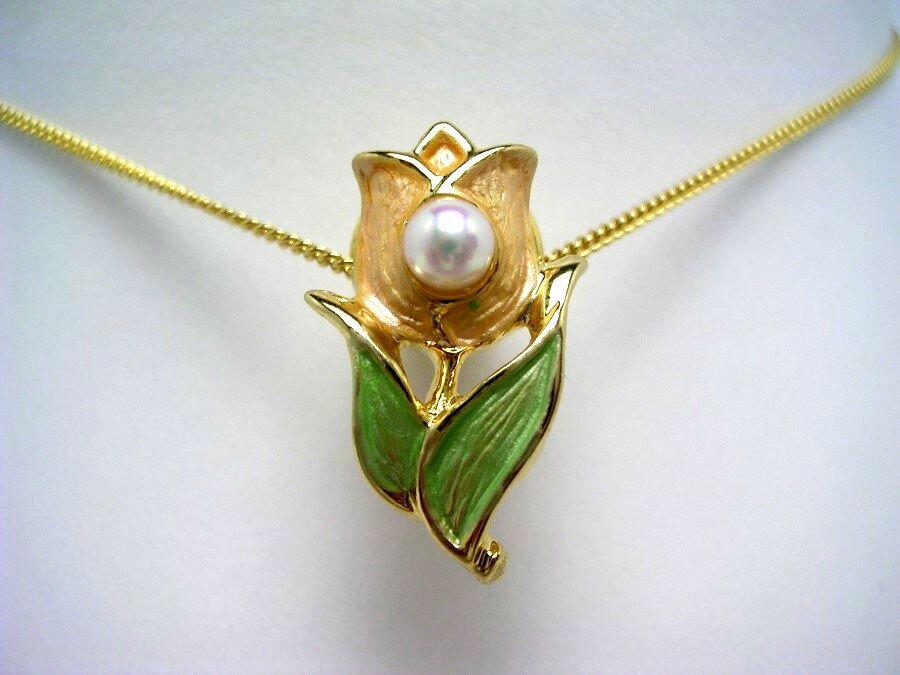 アコヤ真珠 タイニーピン 4-5mm ホワイトピンク 真鍮 植物 フラワー 55422 イソワパール