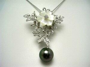 真珠 ブローチ パール 黒蝶真珠 11.2mm ミドルグリーン シルバー シェル 植物 56823 イソワパール