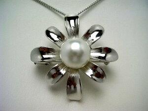 真珠 ブローチ パール 白蝶真珠 11.8mm ホワイトピンク シルバー 植物 フラワー 62812 イソワパール