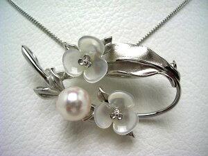 真珠 ブローチ パール アコヤ真珠 8.9mm ホワイトピンク シルバー シェル フラワー 植物 64599 イソワパール