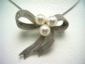真珠 ブローチ パール アコヤ真珠 7.0-7.5mm ホワイトピンク シルバー リボン 64679 イソワパール