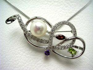 真珠 ブローチ パール 淡水真珠 8.5-9mm ホワイト シルバー 天然石 64700 イソワパール