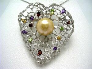 真珠 ブローチ パール 白蝶真珠 18.3mm ゴールド(ナチュラル) シルバー 天然石 植物 64705 イソワパール