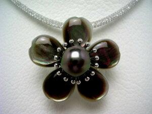 真珠 ブローチ パール 黒蝶真珠 10.3mm ディープグリーン シルバー シェル フラワー 64957 イソワパール