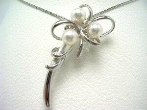 真珠 ブローチ パール アコヤ真珠 7.0-7.5mm ホワイトピンク シルバー 植物 フラワー 65208 イソワパール