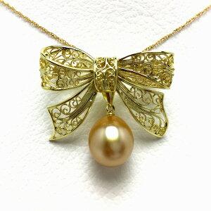真珠 ブローチ パール 白蝶真珠 11.2mm ゴールド(ナチュラル) シルバー リボン 65392 イソワパール