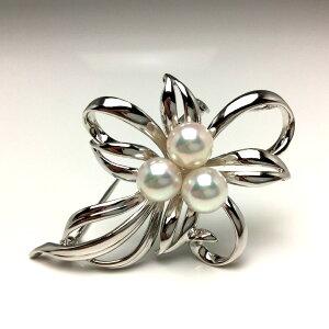 真珠 ブローチ パール アコヤ真珠 7.0-7.5mm ホワイトピンク シルバー 植物 フラワー 65960 イソワパール