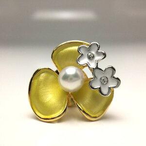 真珠 タイニーピン パール アコヤ真珠 5.0-6.0mm ホワイトピンク 真鍮 植物 フラワー 65971 イソワパール