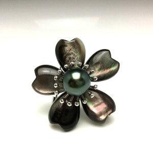 真珠 ブローチ パール 黒蝶真珠 9.45mm ディープグリーン シルバー シェル 植物 フラワー 66029 イソワパール
