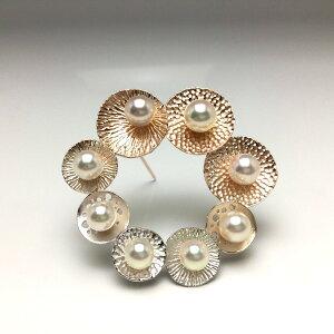 真珠 ブローチ パール アコヤ真珠 6.0-7.5mm ホワイトピンク シルバー 66088 イソワパール