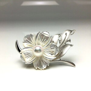 真珠 ブローチ パール アコヤ真珠 8.93mm ホワイトピンク シルバー シェル 植物 フラワー 66104 イソワパール