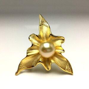 真珠 ブローチ パール 白蝶真珠 12.98mm ゴールド(ナチュラル) シルバー 66124 イソワパール
