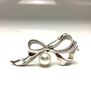 真珠 ブローチ パール アコヤ真珠 8.5mm ホワイトピンク シルバー リボン 66157 イソワパール