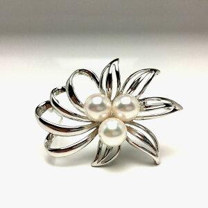 真珠 ブローチ パール アコヤ真珠 7.5-8.0mm ホワイトピンク シルバー 植物 フラワー 66159 イソワパール