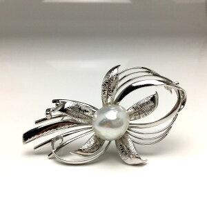 真珠 ブローチ パール 白蝶真珠 12.9mm ホワイト シルバー フラワー 植物 66352 イソワパール
