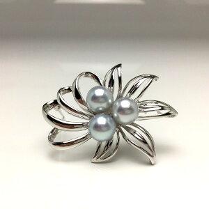 真珠 ブローチ パール アコヤ真珠 8.0-8.5mm ホワイトシルバーブルー シルバー 植物 66374 イソワパール