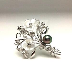 真珠 ブローチ パール 黒蝶真珠 9.6mm ピーコックグリーン シルバー シェル 植物 フラワー 66438 イソワパール