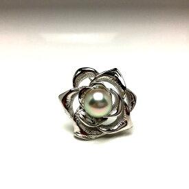 真珠 ブローチ パール アコヤ真珠 9.1mm ホワイトシルバーブルー シルバー 植物 フラワー バラ 66621 イソワパール